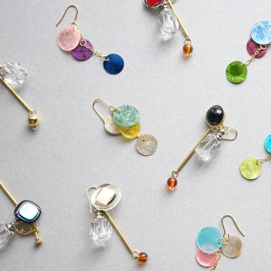 Bottle earrings / Button×Shell : ボトルイヤリング / ボタン×シェル