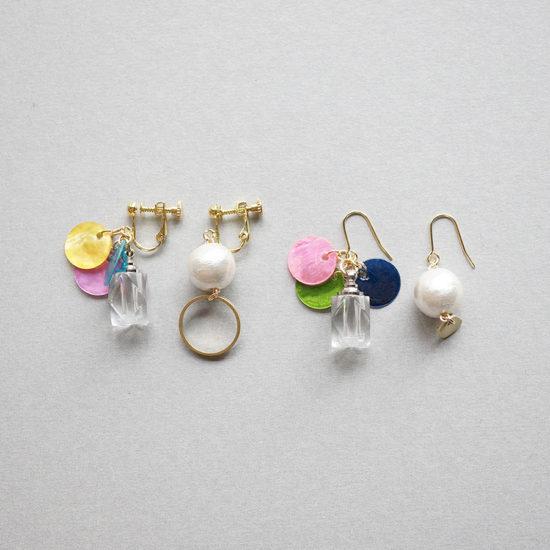Bottle earrings / Shell×Perl : ボトルイヤリング / シェル×パール
